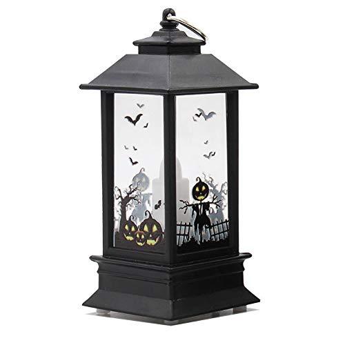 (wonCacrostrans Kerzeneffekt Licht, Halloween dekorative LED Lampe Schloss Kürbis Friedhof Spooky Bar Party Light 2#)