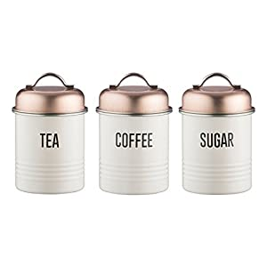 Typhoon Vintage Copper Tea, Coffee & Sugar Canisters, 950ml