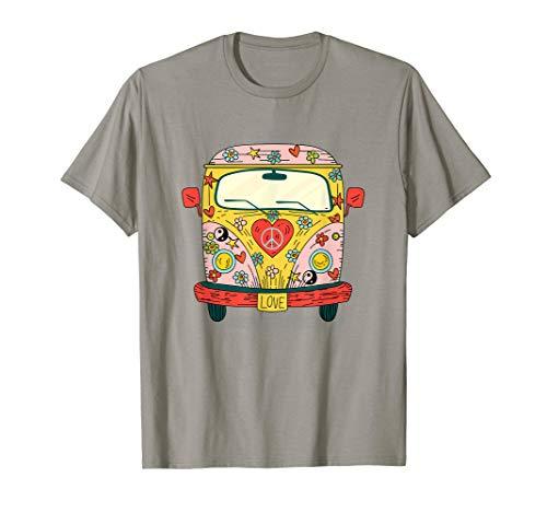 Rot Cartoon Zeichen Kostüm - Pink Auto Bus Camping Hippie Kostüme Cartoon Peace Love Van T-Shirt