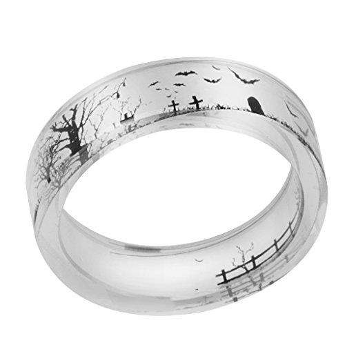 (Prettyia Fledermaus Heilkräftiger Hellfarbiger Halloween Ring aus Harz Friedhof transparent Ring - Silber 18mm)