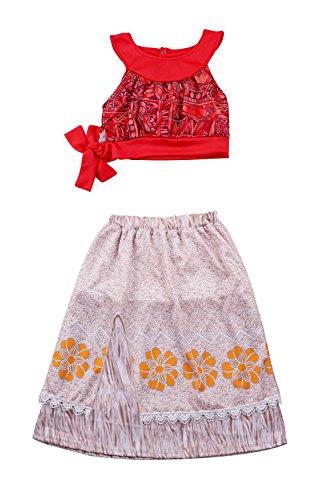 Auspicious beginning Children Summer Princess Dress 2pcs Halter Top Floral Print Knee Length Skirt