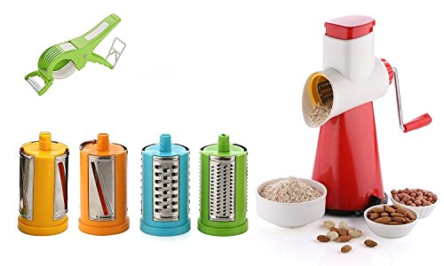 Freebie Combo 4 In 1 Drum Grater Shredder Slicer For Vegetable, Fruits, Chocolate, Dry Fruits, Salad Maker With 4 Different Attractive Drums WITH Vegetable And Fruit Multi Cutter And Peeler