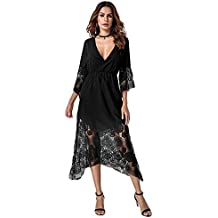 StyleDome Vestido Largo Casual Elegante Oficina Playa Fiesta Noche Cóctel Encaje Croché para Mujer
