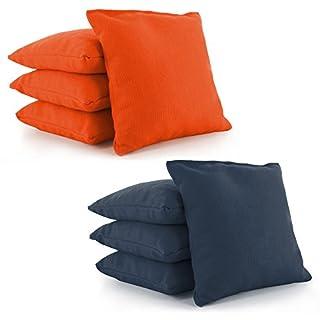 Tailor Spot All Weather Resistant Cornhole Bean Bags (Set of 8) Set Standard ACA/ACO Regulation Plastic Resin Filled 25+ Colors (Navy-Orange)