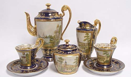 Casa Padrino Barock Kaffeeservice Blau/Gold / Mehrfarbig H. 22 cm - Edles Porzellan Geschirr