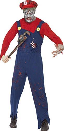 Smiffys, Herren Zombie-Klempner Kostüm, Oberteil, Latzhose mit Latex-Brustkorb und Mütze, Größe: L, (Kostüme Herren Halloween)