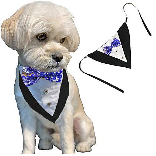 Awesome Outfit (ANIAC formelle Hunde-Halstuch mit Fliege und verstellbarem Halsband, Party-Anzug, Hochzeits-Halstuch, für Katzen und Hunde, blau)
