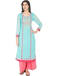 Zoeyams Women's Firozi Georgette Aari Embroidery Long Straight Kurti