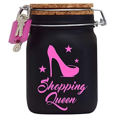 Shopping Queen XXL-Spardose die Geld Geschenk-Idee für die Frau oder Mädchen mit Korkdeckel und Sparschlitz