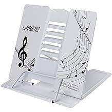 LY - Atril plegable de metal ajustable con dibujos de notas musicales. Para todo tipo de libros., metal, Blanco, talla única