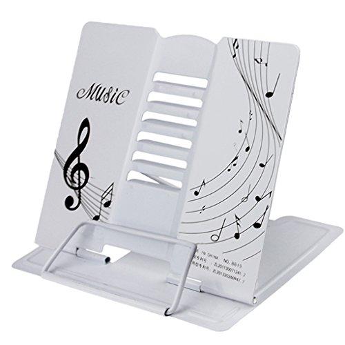LY, leggio in metallo per libro, pieghevole, portatile, supporto regolabile da tavolo, per musica o libri di cucina, metallo, White, taglia unica