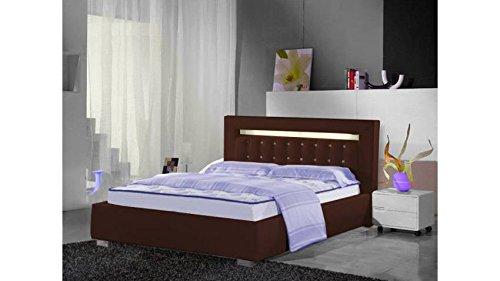 mobilier nitro Lit Design London avec lumière 180 Chocolat 180cmx200cm Chocolat sans Matelas sans sommier