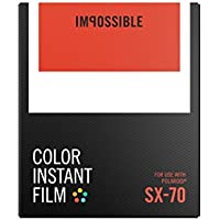 Impossible - 4512 - Nouveau : pellicule couleur pour Appareil Polaroid type SX70 - cadre blanc - 8 feuilles par boîte