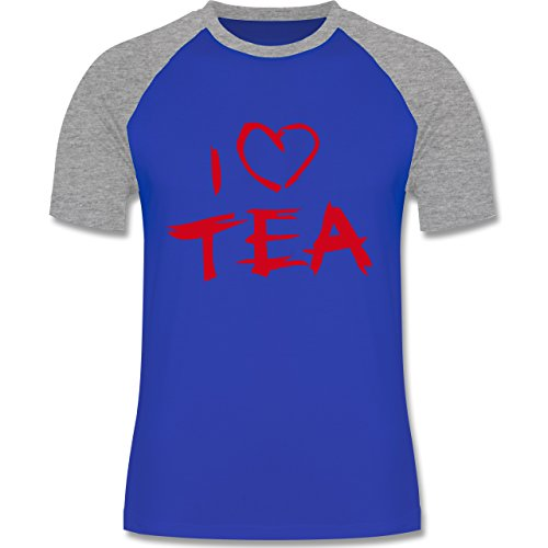 Küche - I Love Tea - zweifarbiges Baseballshirt für Männer Royalblau/Grau meliert