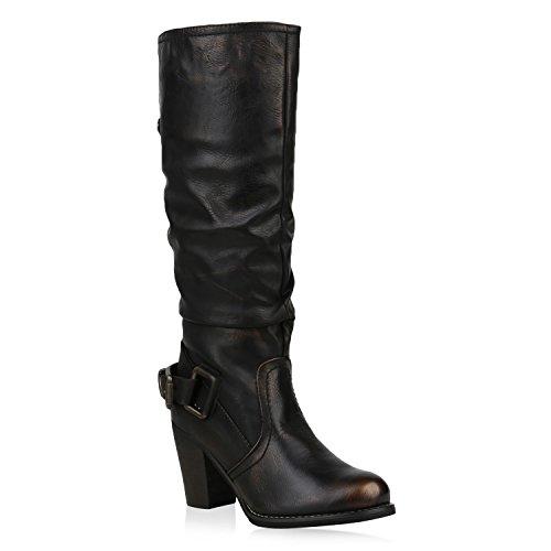 Stiefelparadies Damen Schuhe Cowboystiefel Gefütterte Stiefel Leder-Optik Cowboy Boots 153242 Bronze 40   Flandell® (Cowgirl Stiefel Cowboy)
