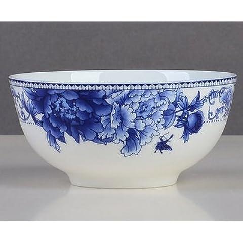 Yifom Phalaenopsis ceramica ciotola di zuppa blu e bianca porcellana ciotola,8 pollice