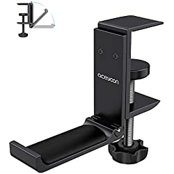 aceyoon Headset Stand, Porte Casque en Aluminium et Silicone Pose Casque Gaming sous Desk avec Pince Réglable Support Casque Multifonction pour Casque Bluetooth, Gaming ps4, Audio, Gamer