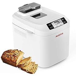 AUCMA Panificadora- 550W Máquina para Hacer Pan con Dispensador Automático,12 Programas,sin gluten,temporizador digital 13H, sensor de temperatura