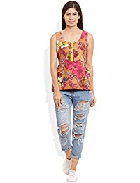 Very Me Women's Cotton Printed Short Top Size:- 32 / S (Peach)