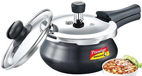 Prestige Deluxe Duo Plus Induction Base Aluminum Pressure Cooker (2 Litres, Black)