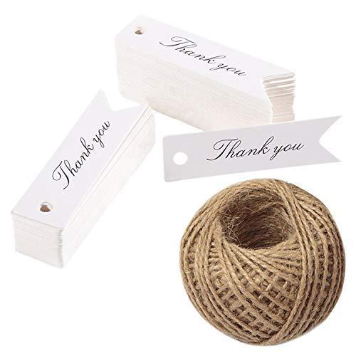 100 etichette con stampa 'Thank You', in carta kraft, etichette per bomboniere con 30 metri di spago in iuta (bianco)