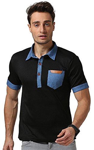 Whatlees Herren Basic kurzarm Poloshirts Hemd Shirts in verschiedene Farben B468-Black