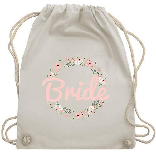 Shirtracer JGA Junggesellinnenabschied - Bride Blumenkranz rosé - Unisize - Naturweiß - WM110 - Turnbeutel und Stoffbeutel aus Bio-Baumwolle