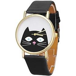 Reloj de mujer Gato Mujeres Hombres Pareja Regalo Cuero banda Analog Cuarzo Dial Reloj De Pulsera (Negro)