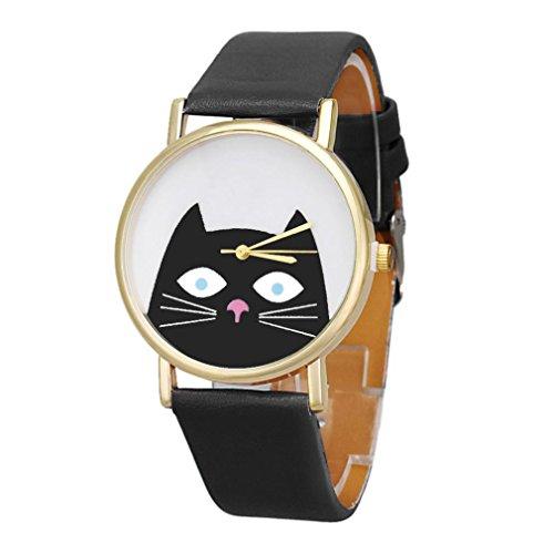 Vovotrade resplandor Gato Mujeres Hombres Pareja Regalo Cuero banda Analog Cuarzo Dial Reloj De Pulsera (Negro)