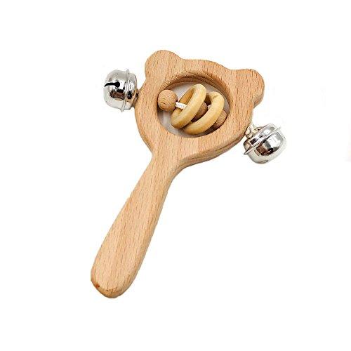Preisvergleich Produktbild MMLC 1pc natürliches Buchen-Holz-Kinderkrankheits-Geklapper-Baby,  Das kaubaren Beißring pflegt (D)