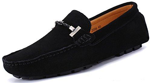 SEECEE Herren Mokassin Große Größe Männer Loafers Schuhe Wildleder Freizeitschuhe Fahren Halbschuhe Slippers Weich Handgefertigt Bootsschuhe Schwarz 44.5 EU