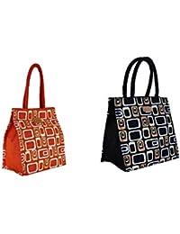 Ecotara Golden Glaze Designer Jute Lunch Bag Super Saver COMBO Pack - Orange & Black- Medium(10*10 Inch)