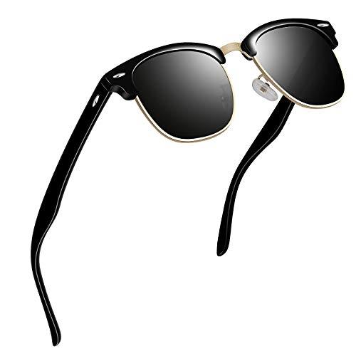 VVA Sonnenbrille Herren klassischer Retro-Halbrahmen Polarisiert Sonnenbrillen für Herren Damen V1002(Helles Schwarz)