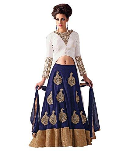 S R Fashion Women's Velvet Lehenga Choli (Sr 513_Blue_Free Size)