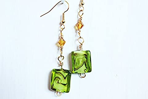 Square lampwork bead and crystal drop earrings