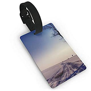 Retro Winter Snow Road Travel Luggage Tag Suitcase ID Lablels Accessories Leather Wristband