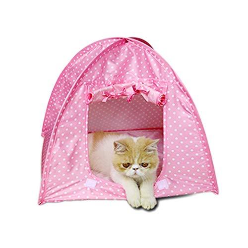 Kakiyi Polyester Kitty Haustiere Campingzelt Haus Klappbett Wasser Resistent Durable Nette Tupfen-Höhle