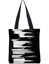 Snoogg Broken Piano Designer Poly Canvas Fashion Printed Shopping Shoulder Lunch Tote Bag For Women
