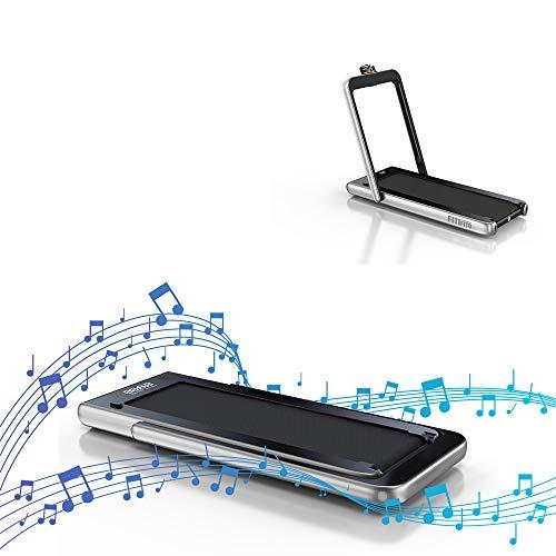 Fitifito ST100 Edles Laufband Profilaufband 1.0-12 km/h Bluetooth Fernbedienung komplett klappbar verstaubar mit Handyhalter Silber