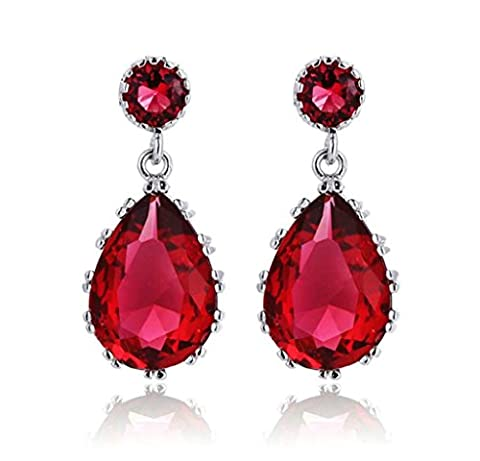 KnSam Boucles d'Oreilles Plaqué Argent Dangle Earring Rose Rouge Cristal Classique Cercle Goutte d'Eau [Bijoux