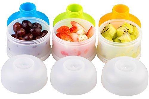 Milchpulver-Portionierer für 4 Portionen, Kidsmile Twist-Lock Stapelbare On-the-Go BPA Frei Milchpulver-Portionierer & Snack-Portionierer - 4 Portionen, kein Pulver Leckage