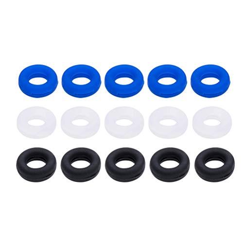 Yardwe Brillenbügel Halter Silikon Antirutsch Überzüge Ring Ohrbügel für Brillen Sonnenbrillen 15 Paar (Transparent, Schwarz, Blau)