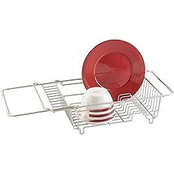 mDesign égouttoir à Vaisselle pour la Cuisine - séchoir d'assiettes, de Couverts et de Verres - à Placer au-Dessus de l'évier - Acier Inoxydable - Couleur: Argent