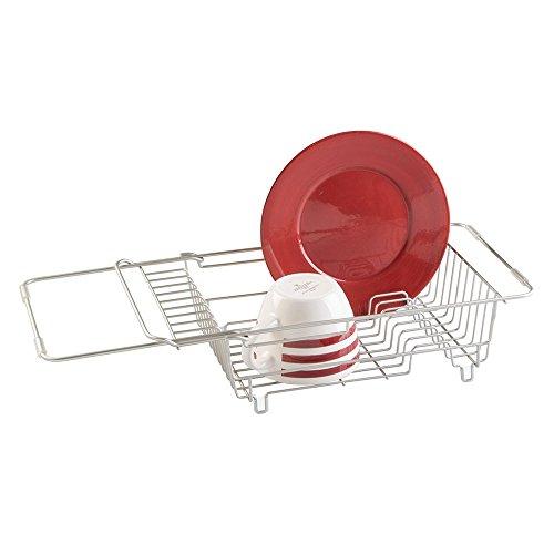 mDesign - Escurreplatos para colocar sobre el fregadero; para escurrir/secar vasos, boles, cubiertos, platos - Satinado