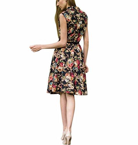 Possec Damen Kleider Vintage Baumwolle Flared Ärmellos Rose Blume Rock Kleid - 4