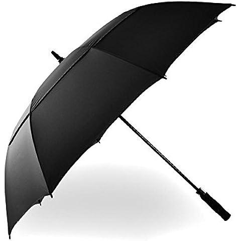 KHSKX Maschio lungo manico bar business ombrello doppio strato golf ombrello, ombrello resistente al vento forte super automatica, robusta e portatile , black