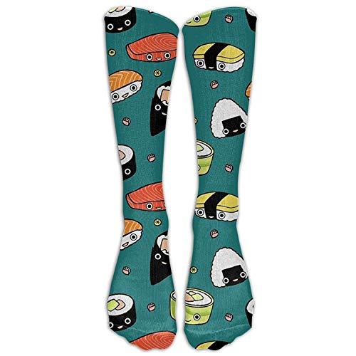 saibing Funny Casual Women's Girl's Long Tube Stockings Japan Sushi Food Unisex Cool Crew Knee High Socks