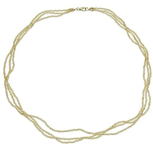 Aleksander Sternen Murano Star Muranoglas 3 reihige Conteria-Damen-Kette Silber 925 vergoldet 45cm Gold