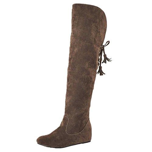 Nonbrand Damen Keilabsatz synthetischer Kniehohe Stiefel, Schwarz - schwarz - Größe: 37