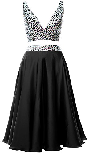 MACloth Women 2 Piece Short Prom Dress 2017 Straps V Neck Cocktail Formal Gown Schwarz